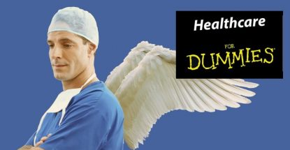 Doctor in scrubs with angel's wings