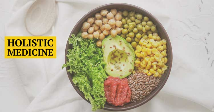 Bowl filled with raw food representing various food groups